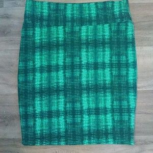 LuLaRoe plaid stretchy pencil skirt